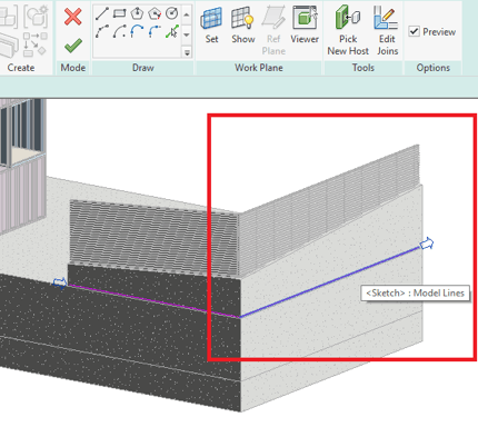 Separate sketch lines in a railing sketch in Revit 2018