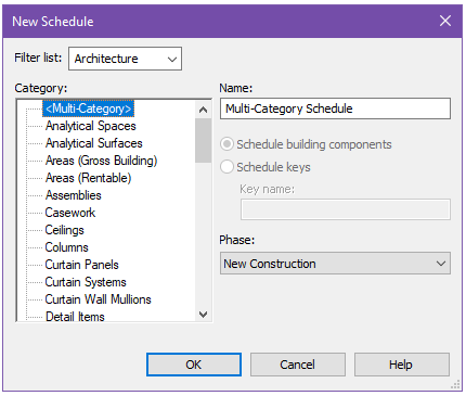 Custom Revit Tables as Header Schedules