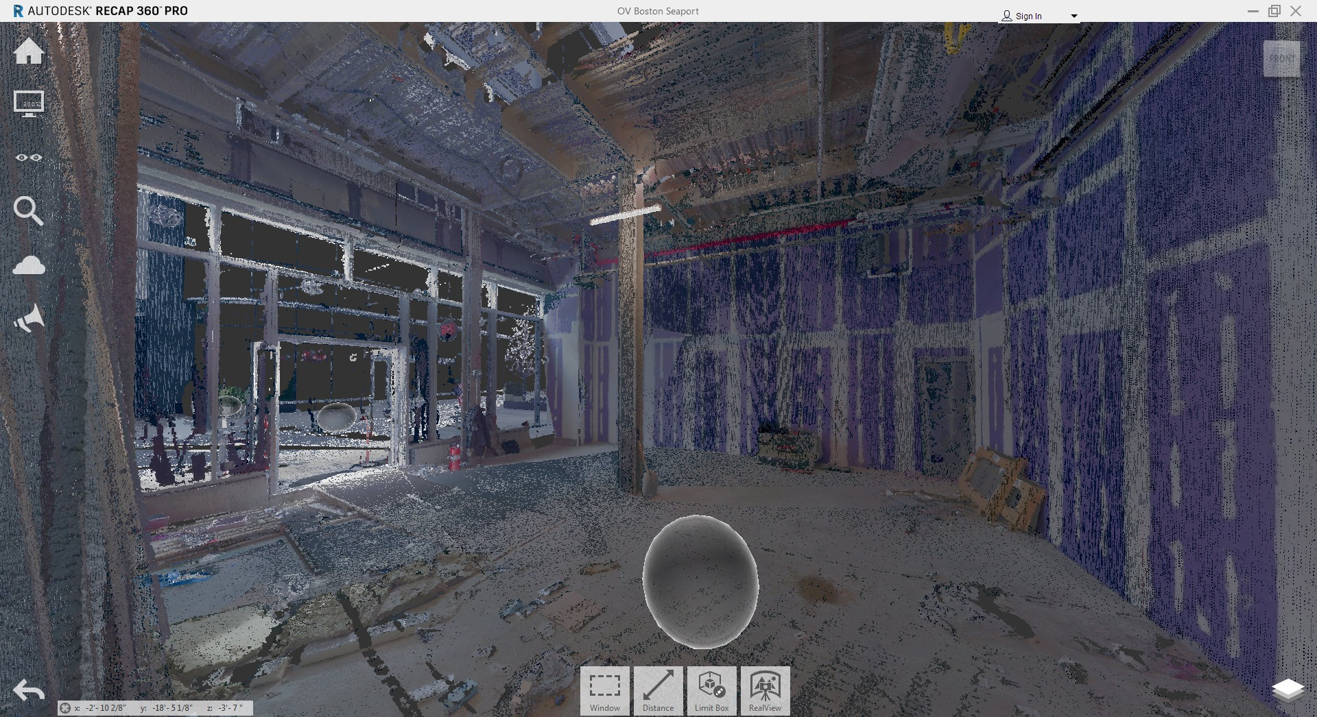 "A typical view of the point cloud: note the ""View Cube"""